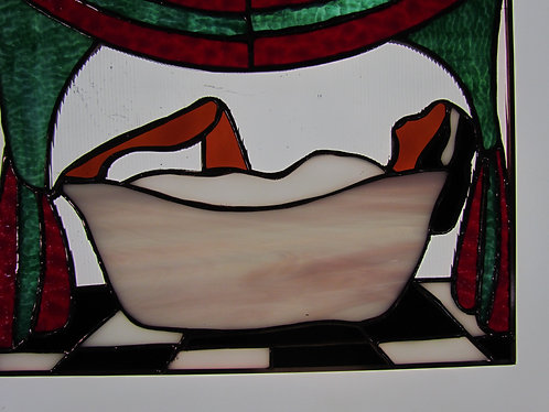 Day is Done Ready to Ship Stained Glass Window Hanging Perfect for the Bathroom