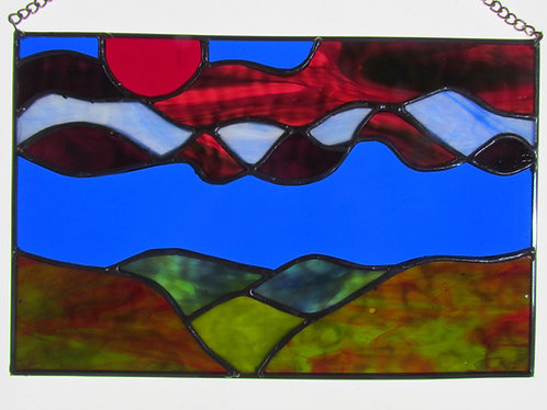The White Mountains I Stained Glass Sun Catcher Mystic Mountain Landscape