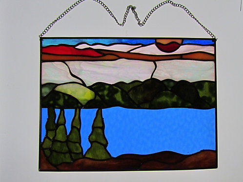 """Stained Glass New Hampshire White Mountains Series 14"""" x 10.5"""" Landscape Sunset"""