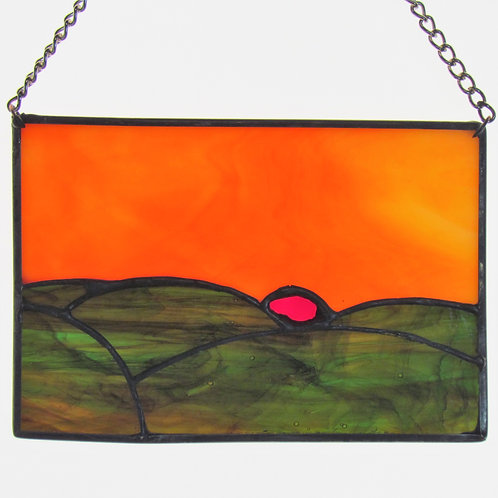 The Dawn II Stained Glass Sun Catcher Mystic Mountain Landscape