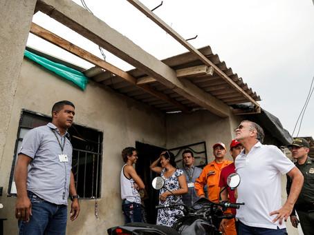 Gobernación del Atlántico ayuda a familias afectadas por vendaval del fin de semana