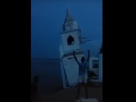 Erosión en la región Caribe: río Magdalena se llevó parte de una iglesia en Bolívar