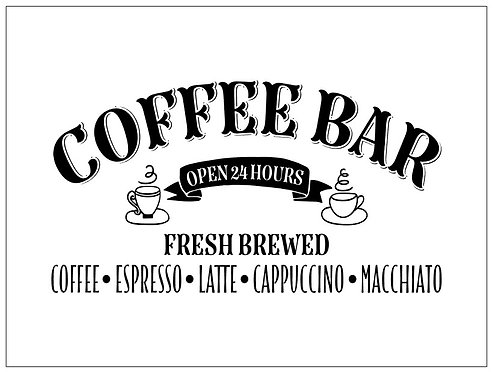 Coffee Bar; Signature Sign