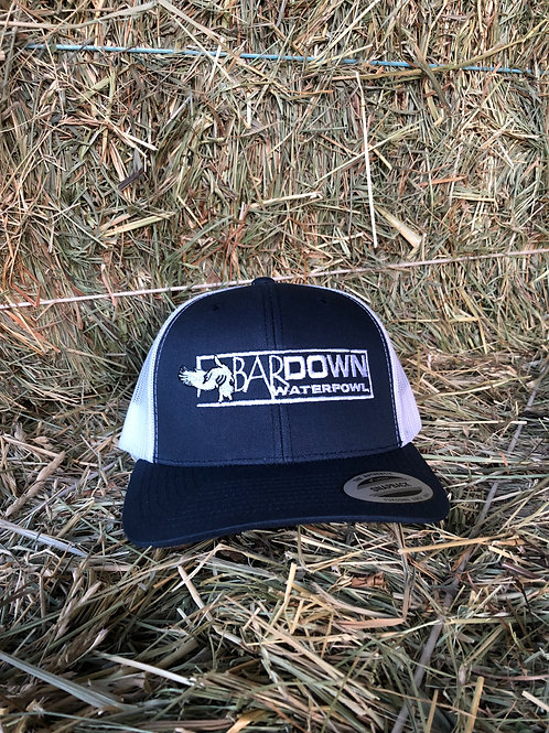 White and Navy Blue Snapback Hat