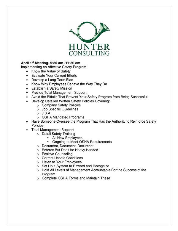 Hunter Meeting -Seminars  April  May  20