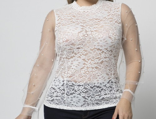 LACE BLOUSE WITH PEARL MESH SLEEVES
