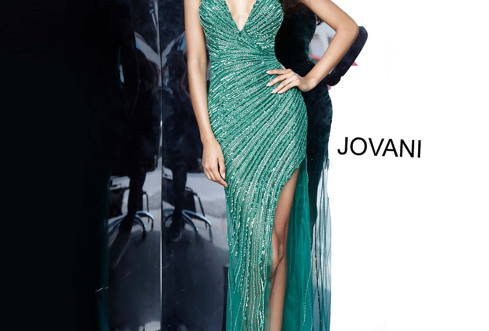 Jovani V-Neck Open Back Dress 63405