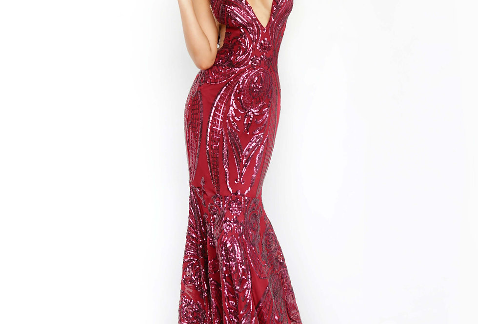 Jovani V-Neck Sequins Dress 3186