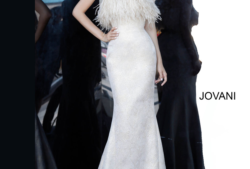 Jovani Strapless Feathers Dress 66240