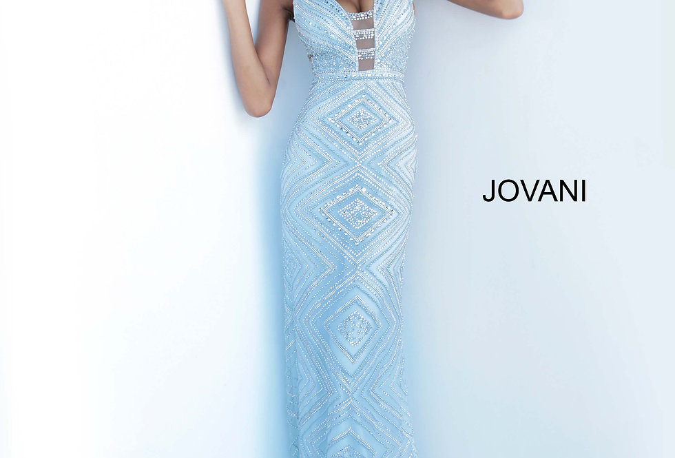 Jovani V-Neck Beaded Dress 67668