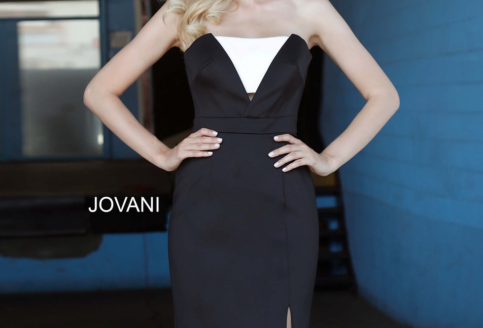Jovani Short Strapless Black Dress 3355