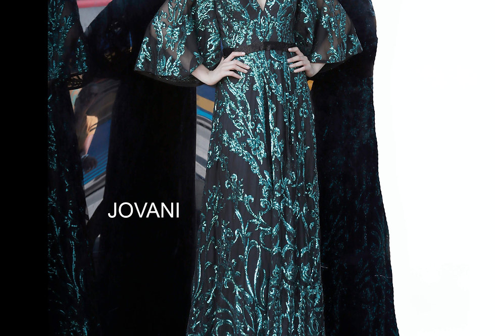 Jovani Beaded Long Sleeve Dress 64550