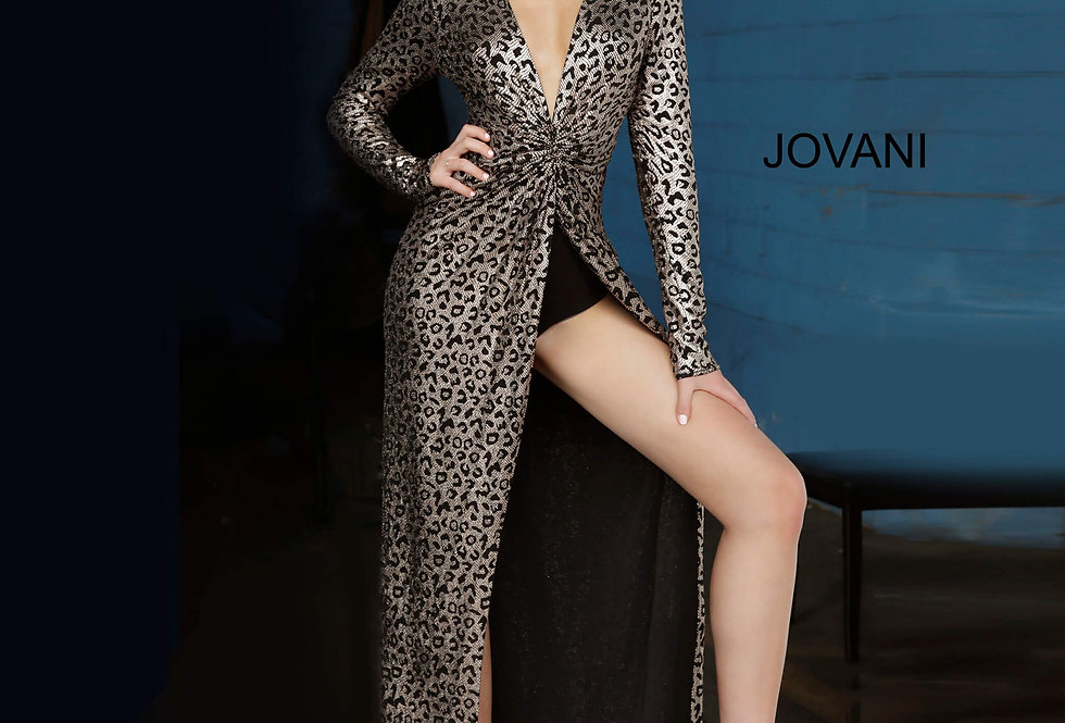 Jovani Long Sleeve Sequins Dress 3171