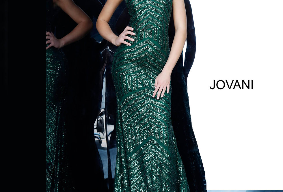 Jovani High Neckline Full Figured Dress 64807