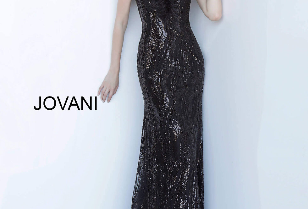 Jovani Long Feathers Dress 2925