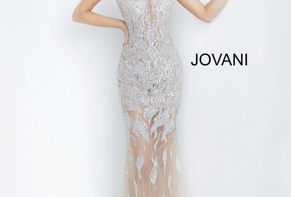 Jovani High Neckline Beaded Dress 67786