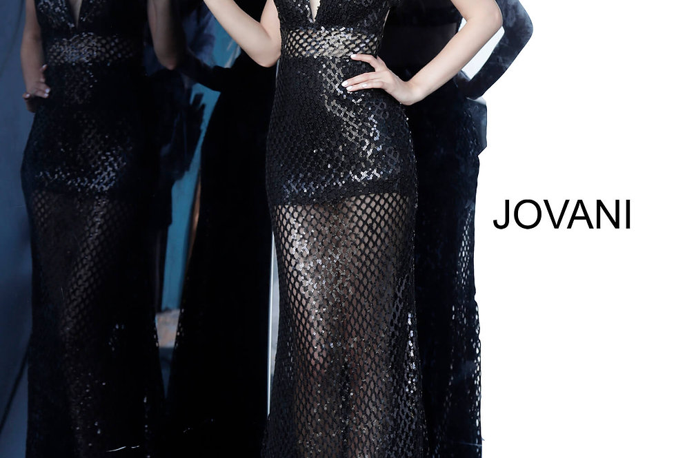 Jovani Long Ilussion Dress 02918