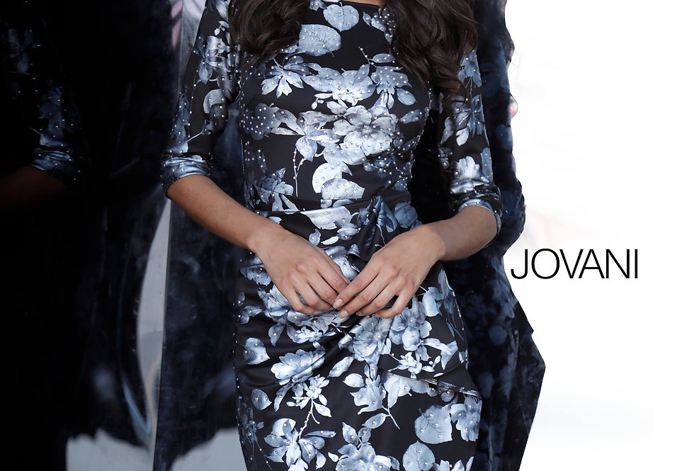 Jovani Short Floral Fitted Dress 2914