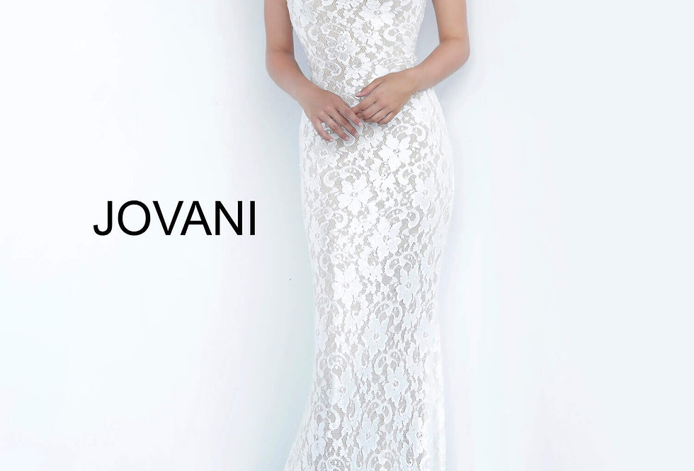 Jovani High Neckline Lace Dress 8081