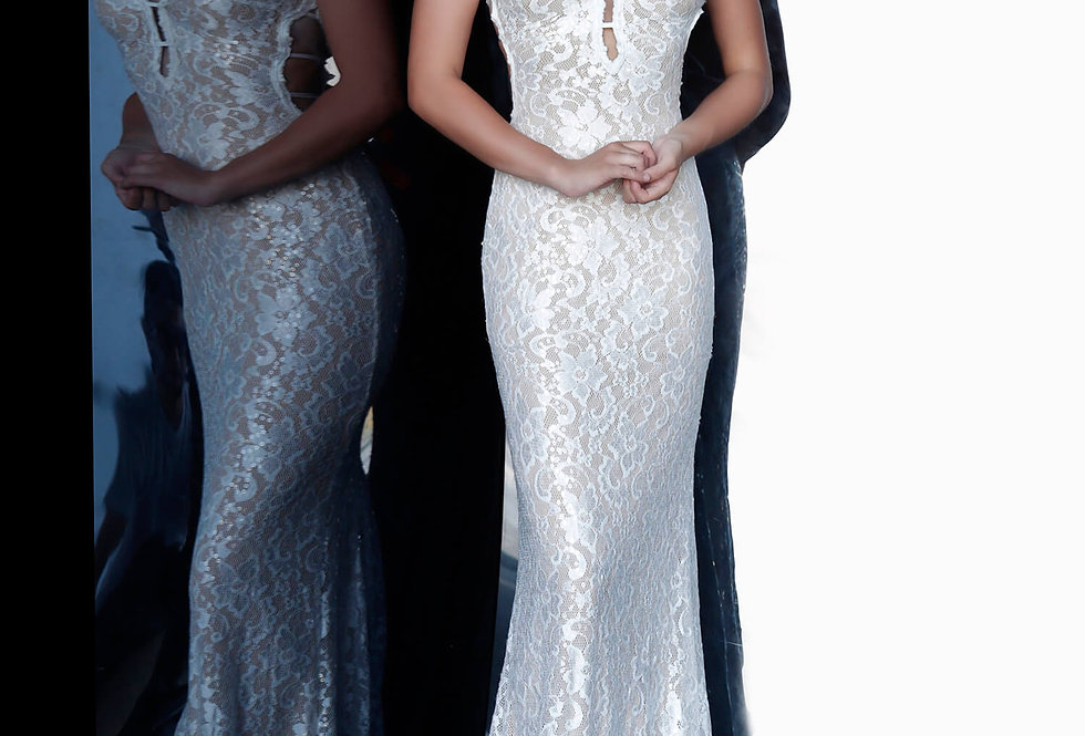 Jovani V-Neck Beaded Dress 8082