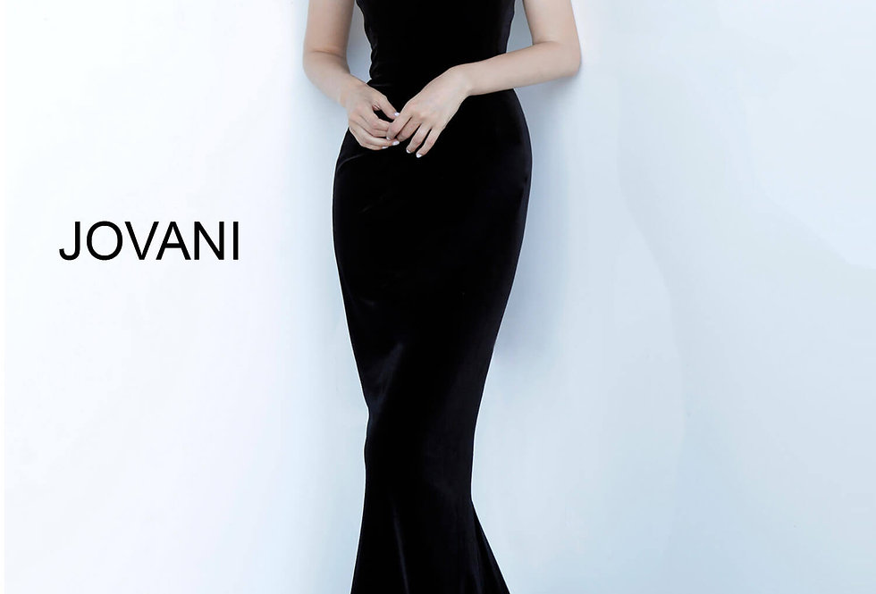 Jovani Fitted Velvet Dress 63993