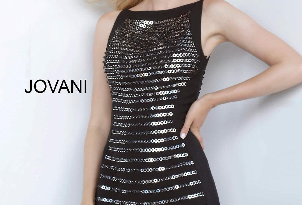 Jovani Short High Neckline Black Dress 66372