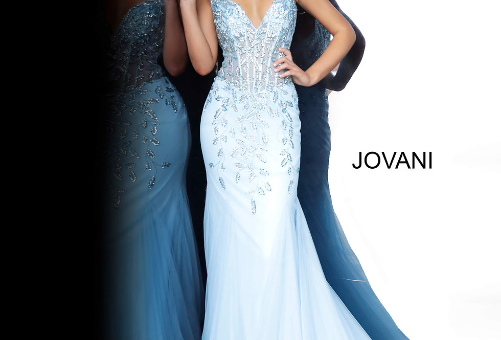 Jovani Full Figured Tulle Dress 63704