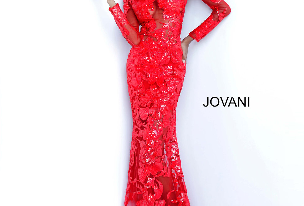 Jovani Long Sleeve Sequins Dress 60285