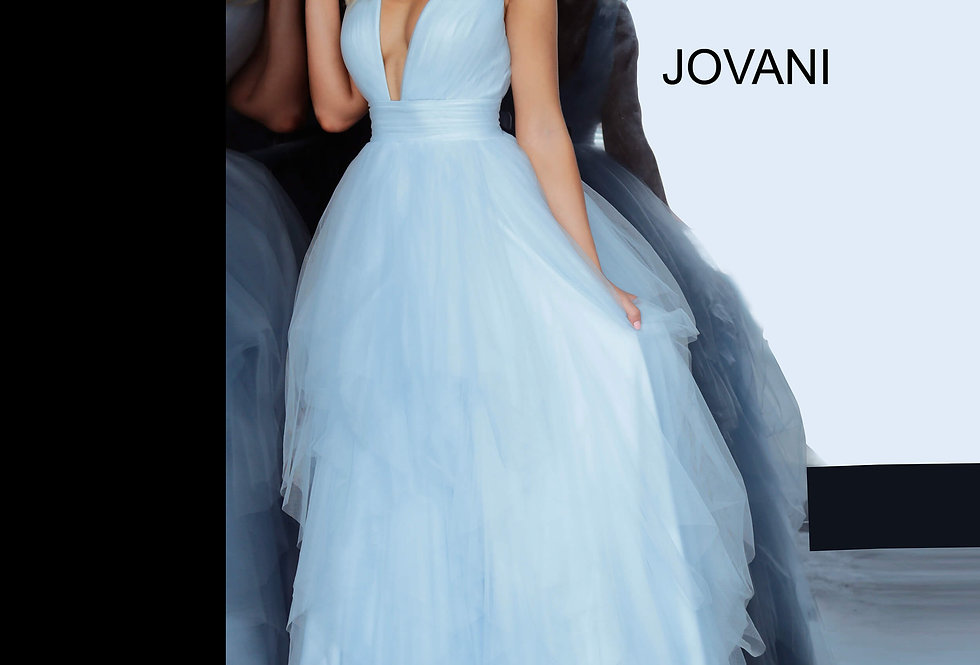 Jovani V-Neck Tulle Dress 3928