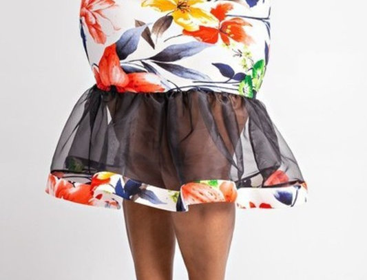 Organza ruffle detail skirt