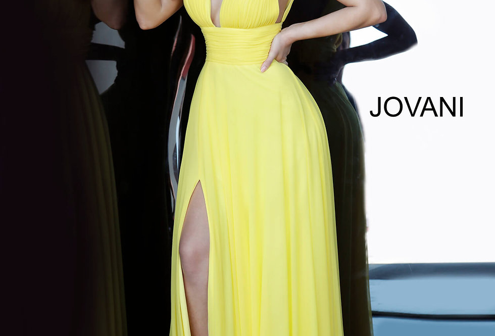 Jovani V-Neck Chiffon Dress 2585