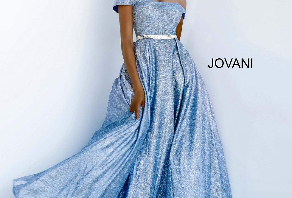 Jovani Cap Sleeve Glitter Dress 66950