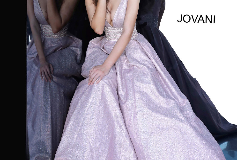 Jovani V-Neck Glitter Dress 4683