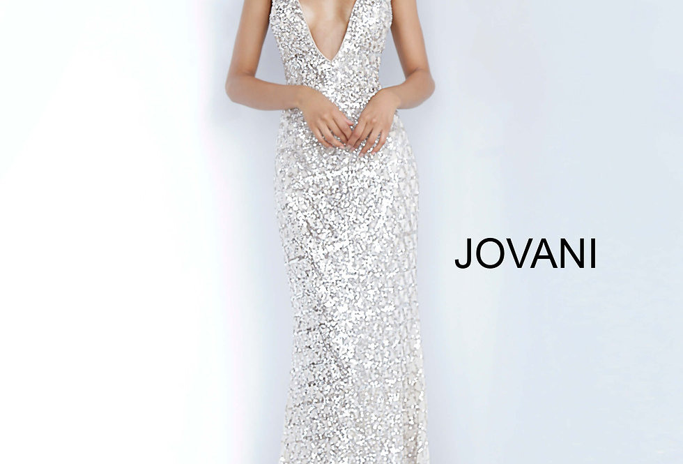 Jovani Beaded V-Neck Dress 02457