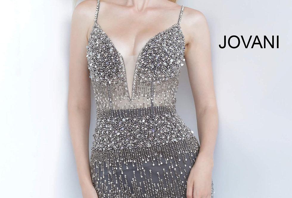 Jovani Short Beaded V- Neckline Dress 3936