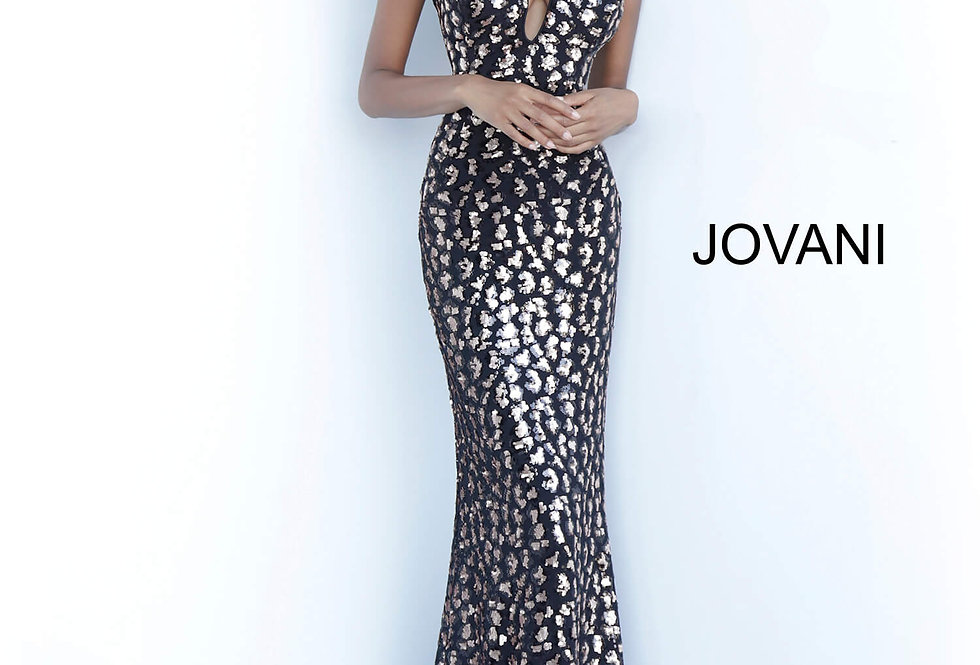 Jovani Long Sequined Dress 1166
