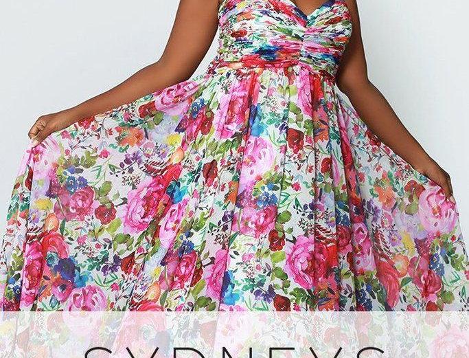 Floral Print Long Formal Dress