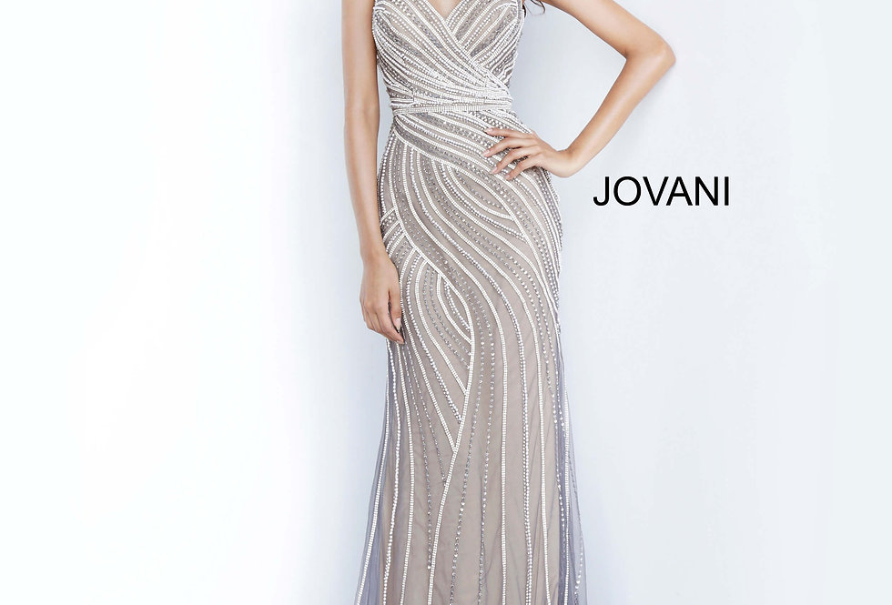 Jovani Beaded V-Neck Dress 02408