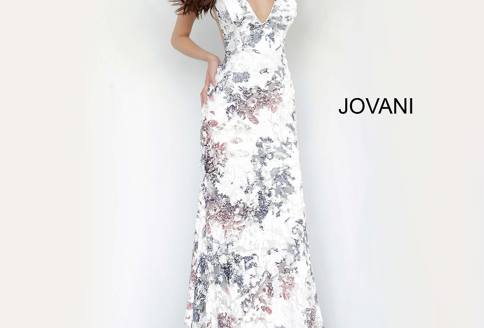 Jovani V-Neck Lace Dress 4074
