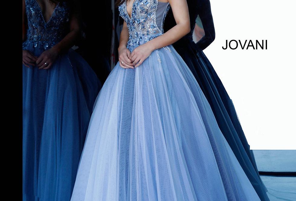 Jovani V-Neck Applique Dress 3110