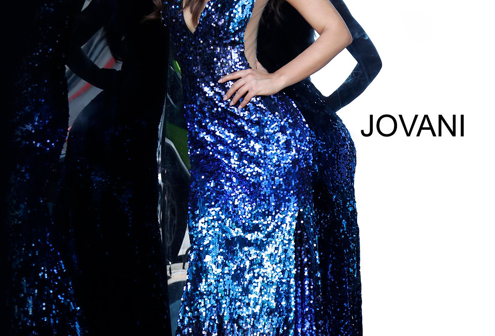 Jovani V-Neck Sequins Dress 3192