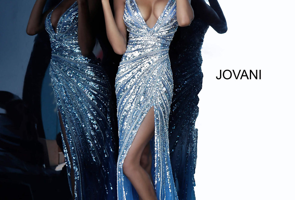 Jovani V-Neck Lace Dress 3686