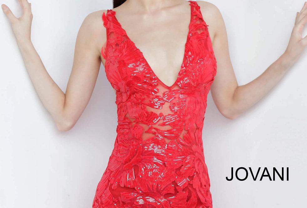 Jovani Short V- Neckline Fitted Dress 4552