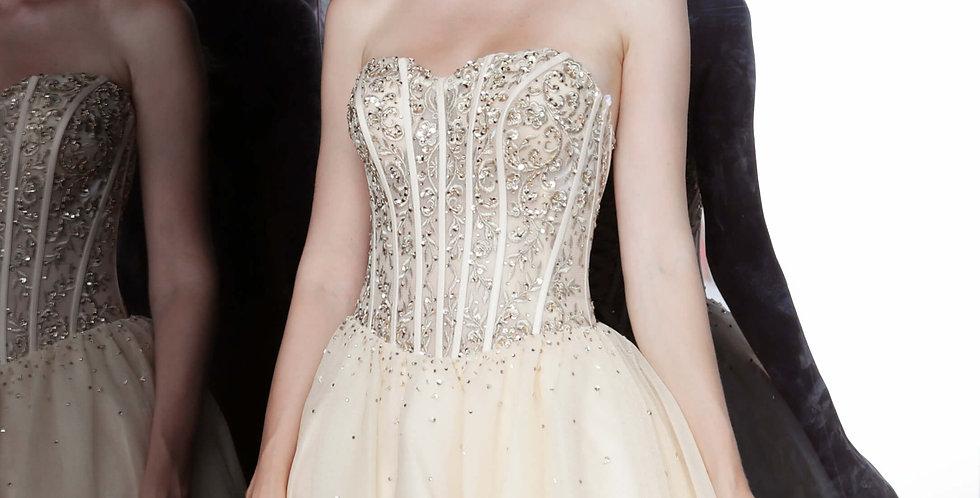 Jovani Short Strapless Gold Dress 63657