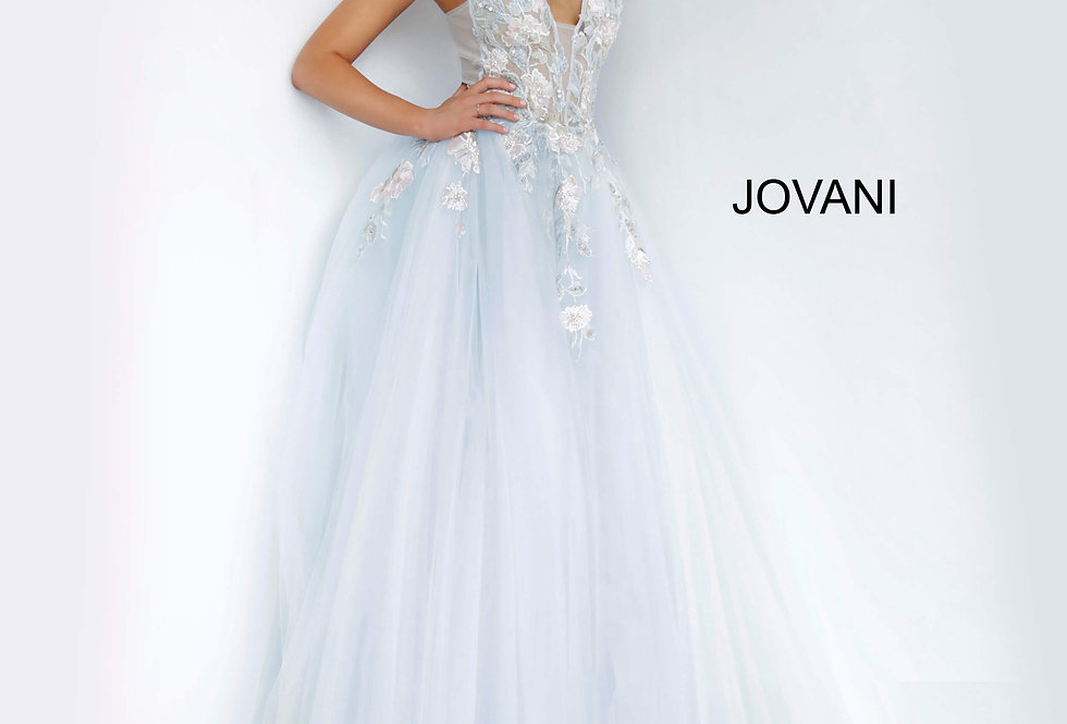 Jovani Light Blue Ball Gown Dress 11092