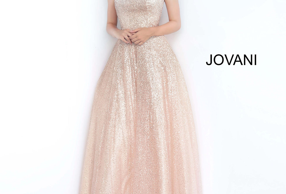 Jovani Long Shimmer Dress 02875