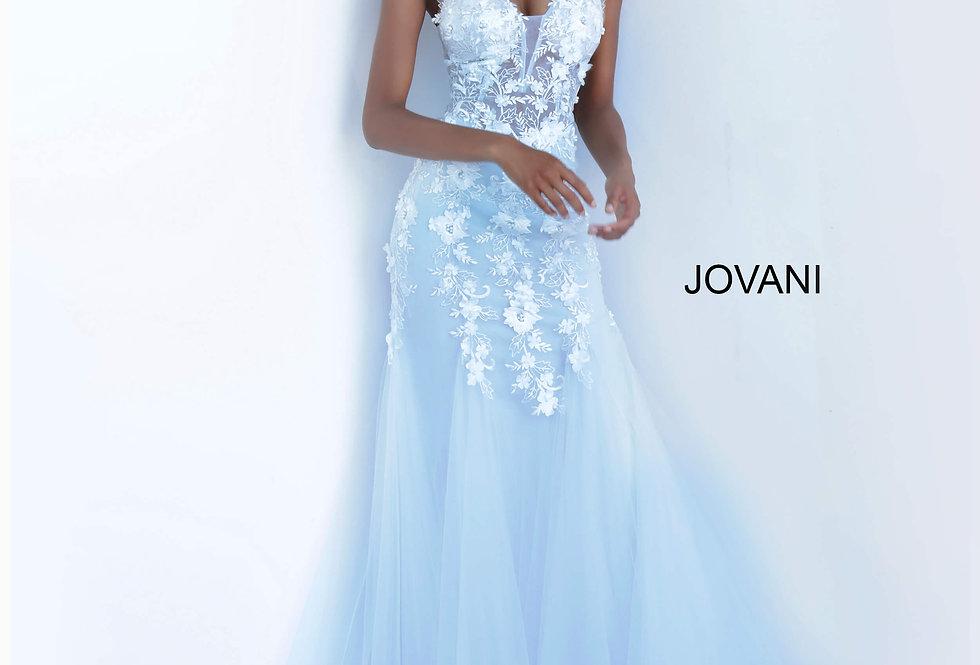Jovani V-Neck Beaded Dress 8066
