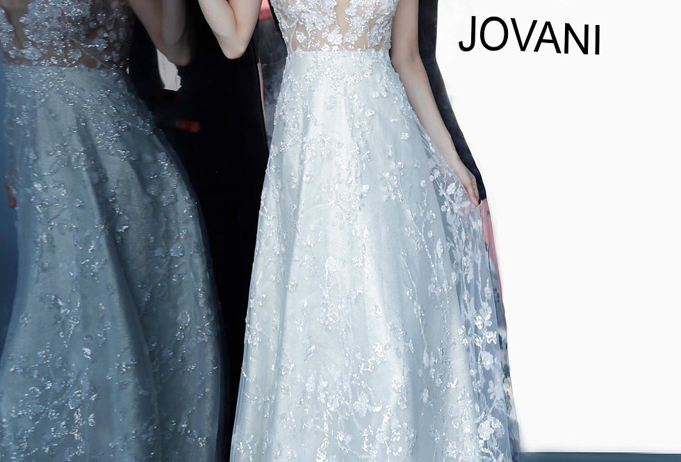 Jovani White A Line Dress 03462