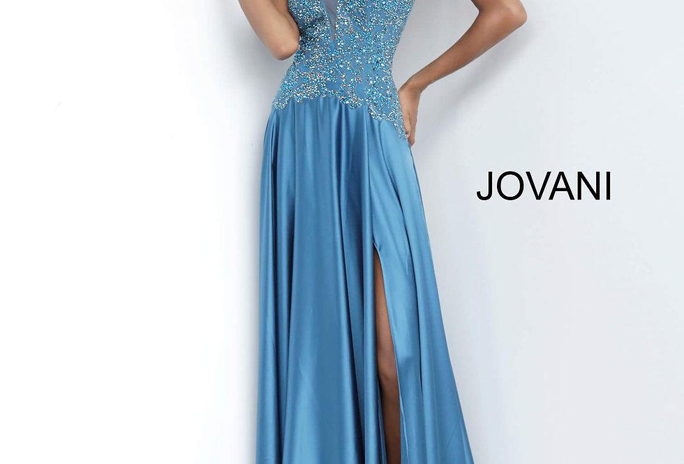 Jovani V-Neck Satin Dress 4287