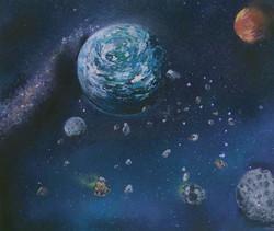 Terre sous une pluie d'astéroïdes